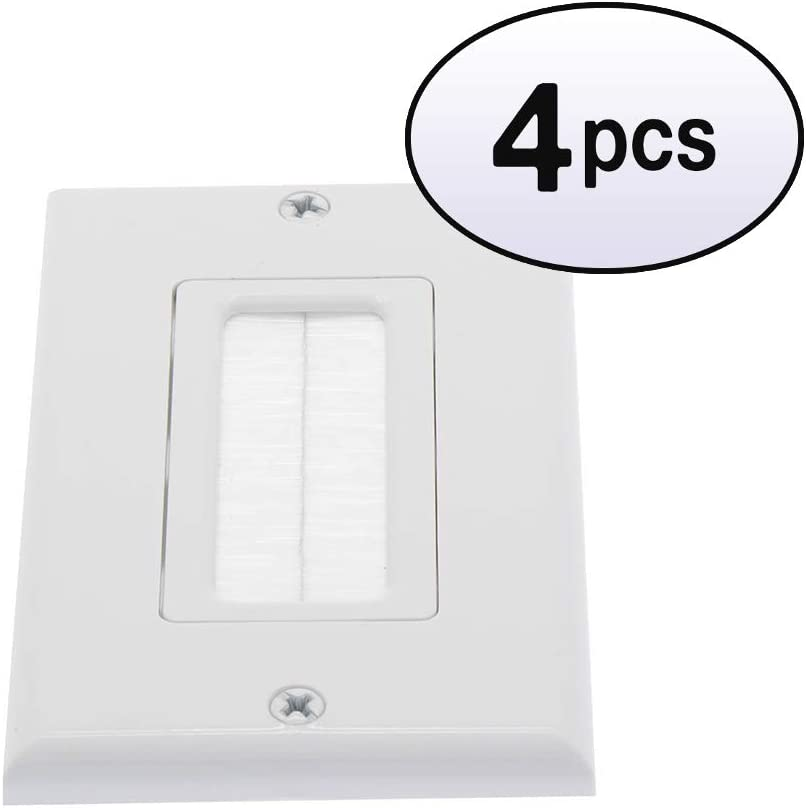GOWOS 4 Pack 1-Gang Superior High order Plate Brush Wall White