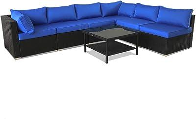 Amazon.com : Daonanba Luxurious XXL Rattan Furniture Set ...