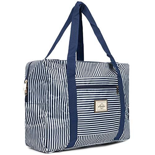 Cleostyle Strandtasche Damen Badetasche mit Reißverschluss Shopper Beach Bag Schultertasche groß Einkaufstasche 722 (Blau/Weiß Klein)