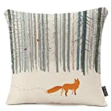 oFloral Throw Pillow Case Decorative Cushion Cover Square Pillowcase, Winter Forest Landscape Fox Bird Sofa Bed Pillow Case Cover(18x18inch) Twin Sides