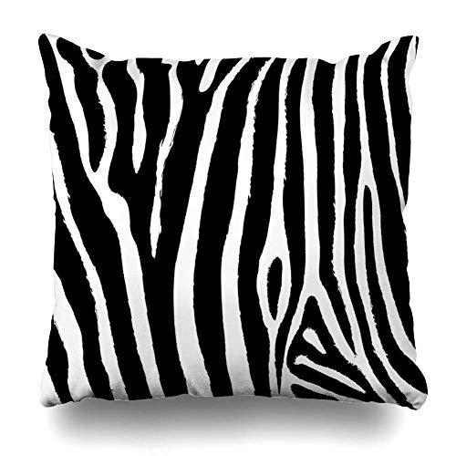 Mesllings - Funda de almohada con diseño de rayas de cebra abstractas y líneas africanas, color negro, diseño de camuflaje horizontal, decoración para el hogar, cuadrada, 50,8 x 50,8 cm, funda de almohada con cremallera