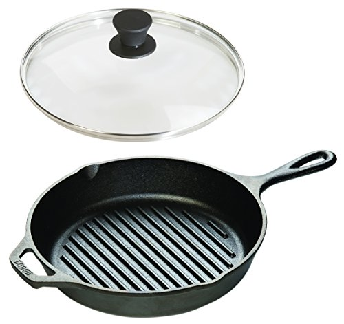 Lodge Seasoned Cast Iron Cookware Set - Grill Pan with Tempered Glass Lid (10.25 Inch)