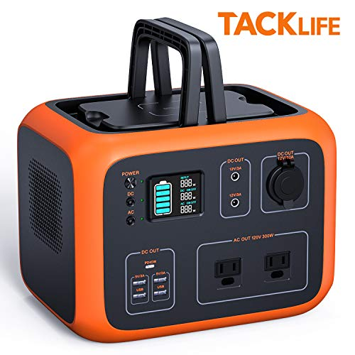 TACKLIFE Portable Power Station, 500Wh Outdoor Solar Generator with Pure Sine Wave 110V AC Outlets,QI-Certified Wireless Charging,USB-C PD 45W,recharged by Solar Panel/Wall Outlet/Car