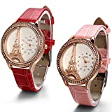 JewelryWe Lot of 2 Paris Tower Leather Women Watches, Pink and Red Leather Bands