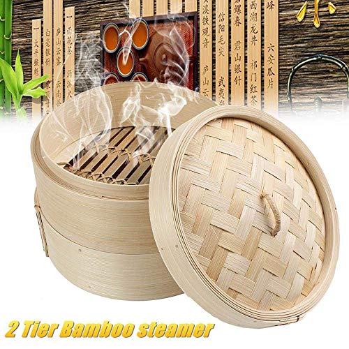 Mnjin Heimgebrauch 2 Tier 8-Zoll-Kochen Bambus-Dampfgarer Steam Pot Fisch Reis Gemüse-Snack-Korb-Set Küche Kochwerkzeuge Knödel-Dampfgarer