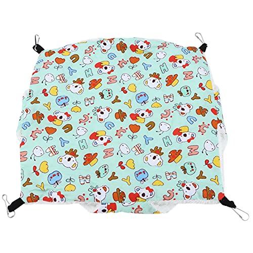 Annjom Cama Colgante para Animales pequeños, Material cómodo Jaula para Mascotas pequeña Hamaca Hamaca Multifuncional Aplicaciones amplias para Conejillos de Indias(Verde de Dibujos Animados)