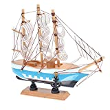 Beautyflier 6.5 Inch Mediterranean Marine Style Wooden Handcrafted Sailing Ship Boat Model Ornament Nautical Home Desktop Decoration