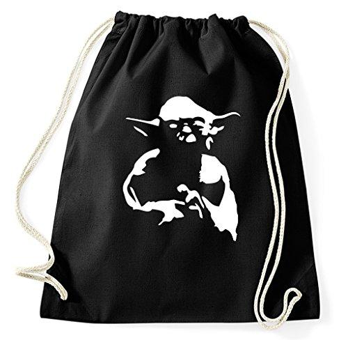 Styletex23 Yoda Turnbeutel Sportbeutel, schwarz