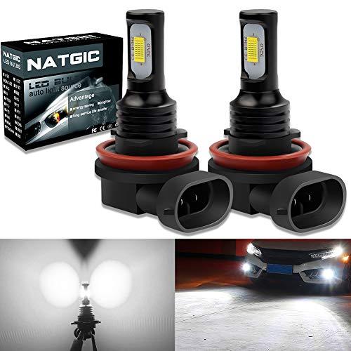 NATGIC H8 H11 H9 Ampoules Antibrouillard LED 75W Dernières Puces Intégrées 3570 CSP 6500K Blanc Xénon et 2400LM pour Ampoules Antibrouillard Lumière de Jour DRL Lampe de Conduite (Pack de 2)