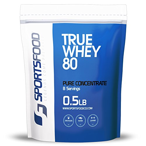 Sports Food True Whey 80-100% Pure Protein Concentrate (Triple Chocolate, 1/2 lbs) Low Carb & Sugar Free, Clean Performance & Weight Loss Protein Powder, Only 5 Ideal Ingredients