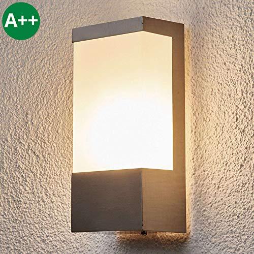 Lindby Edelstahl Wandlampe aussen IP 44   Wandleuchte aussen silber   Außenbeleuchtung Wand, Hof, Garten, Terrasse, Balkon   Aussenleuchte Wand