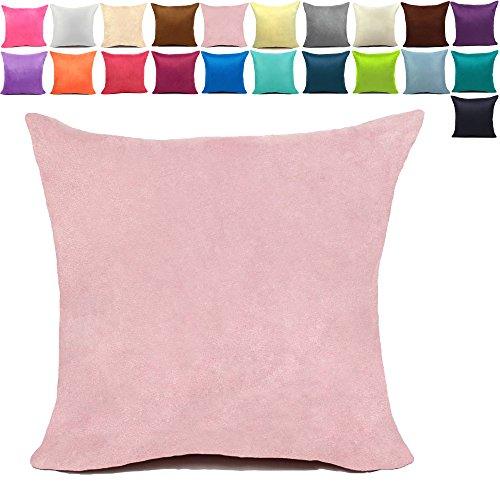 KAMIXIN - Fundas de cojín o almohada cuadradas de ante para el hogar, de colores lisos, para sofá, cama o asiento de coche, tela, Rosa, 40x60cm=16'x24'