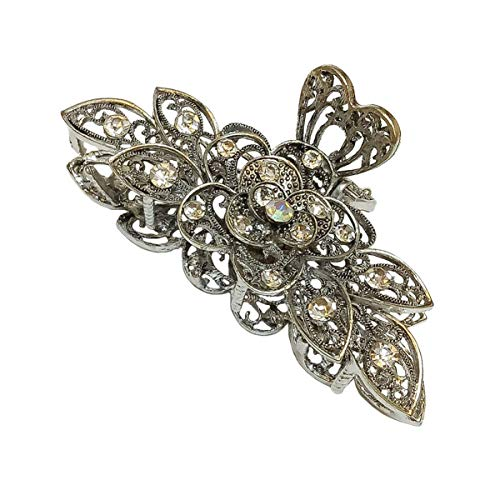 Women Retro Chic Rhinestone Alloy Fancy Hair Claw Jaw Clips Pins - Numblartd Vintage Flowers Hair Catch Updo Grip Hair Accessories for Thick Hair