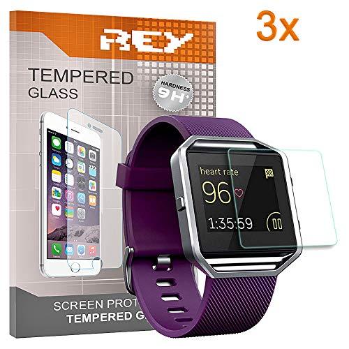 REY 3X Protector de Pantalla para Fitbit Blaze, Cristal Vidrio Templado Premium