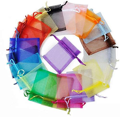 yuechen Bolsitas de Tela para Regalos, 100 Piezas Bolsas de Organza de Regalo para Boda Favores y Joyas (10 * 15cm) (Mezcla de Colores)