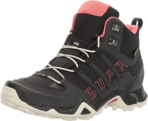 adidas Women's Terrex Swift R Mid GTX Hiking Shoe-Black/Black/Tactile Pink-10