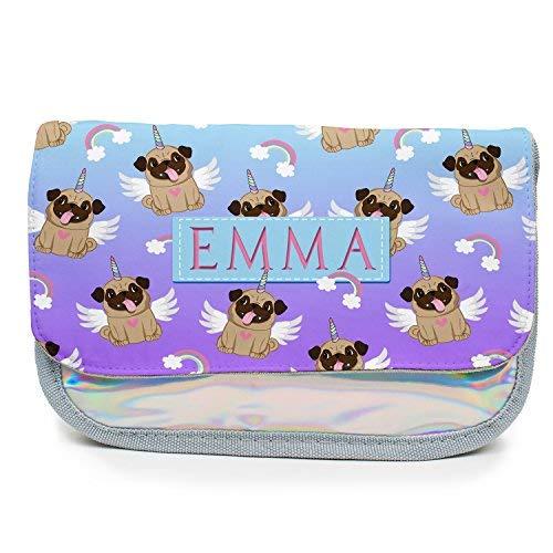 Personalised Pencil Case Pug Unicorn Girls Holographic Stationary Bag Back to School Gift - Shiny Silver KS144
