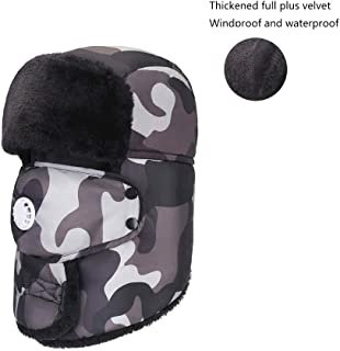 Pusaman Warm Winter hat, Ms. Ear Cap Cycling Wind, Cold face Protection Plus Thick Velvet (Color : Gray)