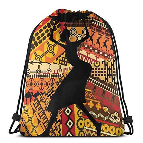 Bolsa de deporte con cordón para gimnasio, cincha de viaje, para mujeres, hombres, niños, silueta de una mujer indígena que lleva una cesta en patrones tradicionales