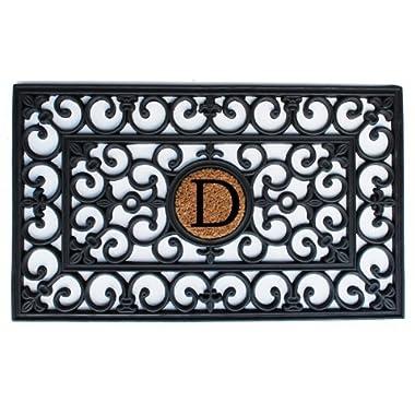 Home & More 150011830D Rubber Doormat, 18  x 30  x 0.60 , Monogrammed Letter D, Black