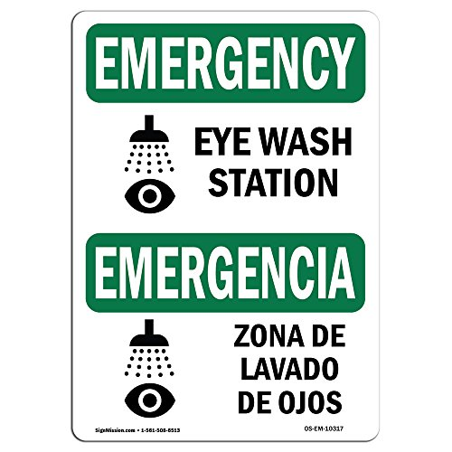 OSHA Emergency Sign - Eye Wash Station Bilingual | Rigid Plastic Sign | Protect Your Business, Construction Site, Warehouse & Shop Area | Made in The USA