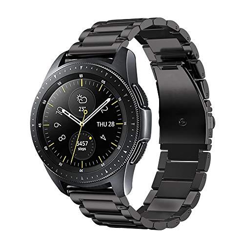Fintie Armband kompatibel mit Samsung Galaxy Watch Active 2/ Watch 3 41mm/Watch 42mm/Galaxy Watch Active/Gear Sport/Gear S2 Classic-Edelstahl Metall Ersatzband, Schwarz