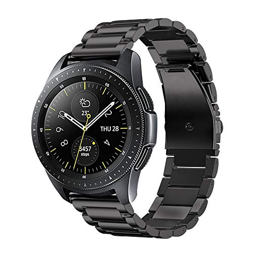 Fintie Bandjes compatibel met Samsung Galaxy Watch 42mm/Active 2/Activer/Gear Sport/Gear S2 Classic Smartwatch, Premie Roestvrij Staal Metaal Band Vervangende Armband met Dubbele Vouwsluiting, Zwart