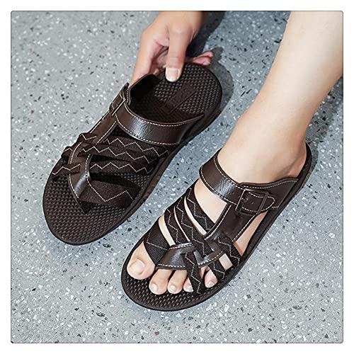 NMJKH Trenza Verano Exterior Hombres Chanclas Zapatillas Chanclas Ligeras Zapatos Casuales Zapatillas De Playa Al Aire Libre (Color : Brown, Size : 44yards)