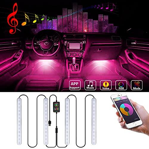 iMeshbean - Tira de luces LED para interior del coche, 48 ledes, RGB, con aplicación, puerto USB, control de música y voz