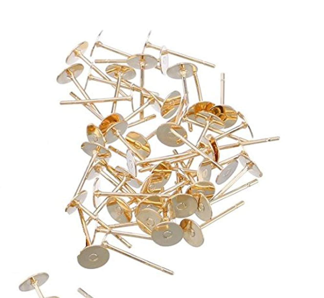VNDEFUL 200 Pieces 6mm Stainless Steel Flat Round Blank Peg,for DIY Earring Making Findings (Gold)