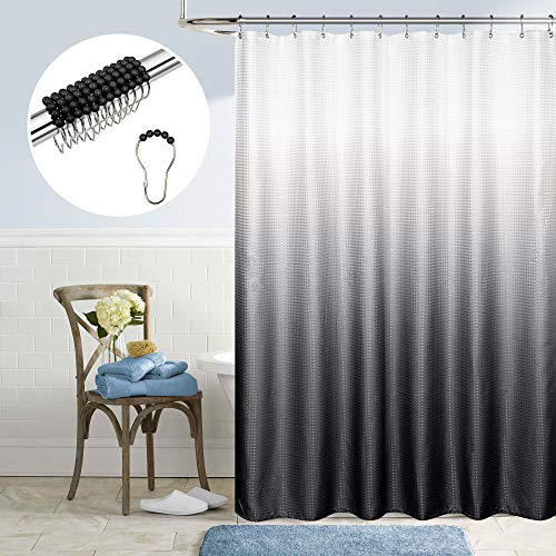 Black and White Shower Curtain for Bathroom Coordinating Beaded Hook Rings Set Textured Bath Cloth Fabric Design Ombre Pattern Elegant Modern Halloween Shower Curtain for Men Black Silver Gray Grey
