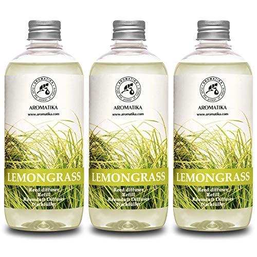 Raumduft Nachfüllflasche Lemongras/Zitronengras 1500ml (500mlx3) - Raumduft Refill - Diffuser Nachfüllen - Raumduft Aromadiffusor - Natürliches Duft - Reed Diffuser Refill