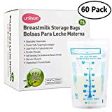 60 Thermal Sensor Breast Milk Bags – Shows when Milk is Frozen, Cold or Hot - Self Standing, Zip Top, Leak Proof, Freezer Safe – Pre Sterilized - BPA Free – 7oz – by Unimom