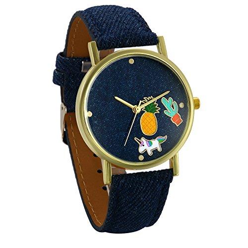 JewelryWe Damen Frauen Armbanduhr, Einzigartig Mode Analog Quarz Uhr Cowboy Denim Leder Band...