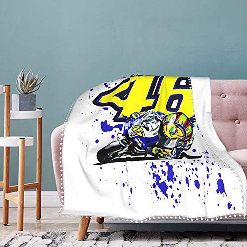 Valentino Rossi - Manta de franela ultra suave y ligera para casa, ropa de cama de colegio, 127 x 101 cm