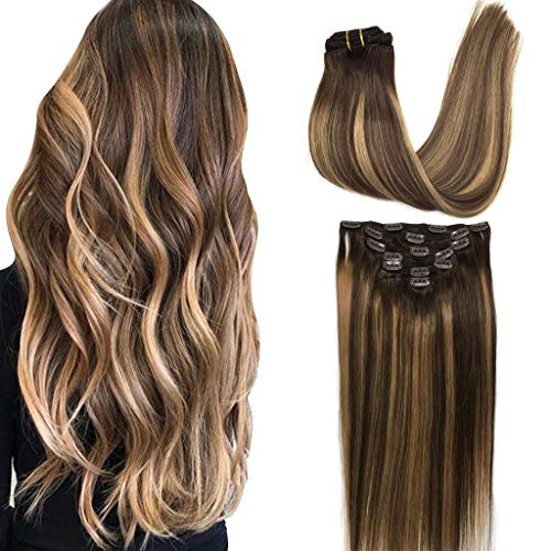 GOO GOO Human Hair Extensions Clip in Ombre Chocolate Brown to Caramel Blonde 14 inch 7pcs 120g Straight Remy Clip in Hair Extensions Real Natural Hair Extensions