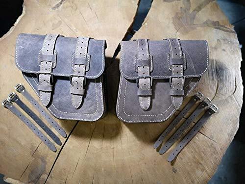 Poseidon Brown Set de Orletanos compatibles con alforjas izquierda y derecha, bolsillos laterales, maletas laterales para Harley Davidson Dyna Glide Street Bob 1996 – 2017, piel marrón HD