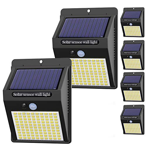 【6 Stück】Solarlampen für Außen mit Bewegungsmelder, [ 2020 Version] Hepside 100 LED Solarlampen für Außen 120° Superhelle Solarleuchten für Außen 3 Modi Wasserdichte Solar Wandleuchte für Garten