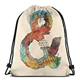 Yuanmeiju Psychedelic Ampersand Shoulder Bolsa con cordón Backpack String Bags School Rucksack Gym Sport Bag Lightweight