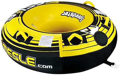 MESLE Tube Speedster 58\'\' gelb, Towable-Tube, Fun-Tube, 147 cm Donut Wasser-Reifen, gelb-schwarz-weiß, 1-2 Personen, 840 D Nylon, Tube, verstärkte Zugvorrichtung, Boston Ventil