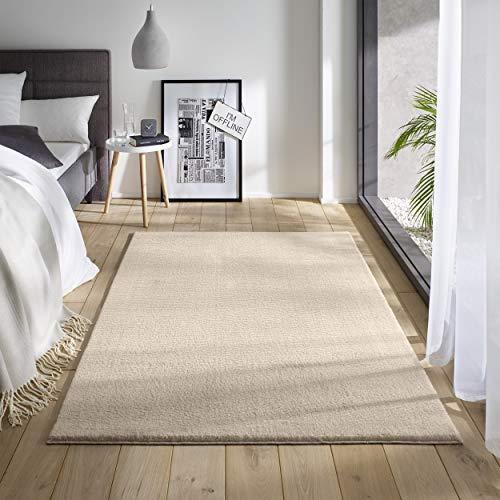 Teppich Wölkchen Waschbarer Teppich mit Anti-Rutsch I Flauschiger Kurzflor für Badezimmer, Kinderzimmer oder Flur Läufer I Einfarbig, Schadstoffgeprüft, Allergikergeeignet   Creme - 120 x 170