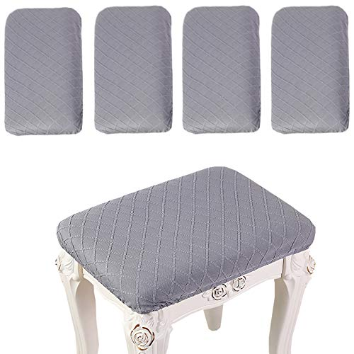 Debruyne 4 Pack Stretch Rectangle Bar Stool Covers Elastic Jacquard Chair Seat Slipcovers Counter Stool Covers Saddle Seat Cover for Wooden Metal Bench Washable (Gray)