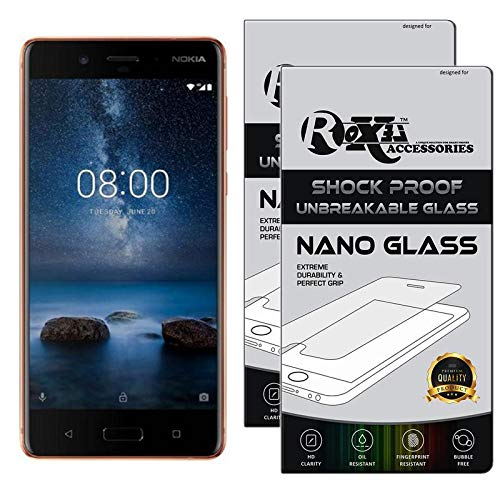 Roxel {Pack of 2} Nokia 8 Flexiable Nano Glass Screen Protector with Unbreakable Nano Film Glass [ Better Than Tempered Glass ] Screen Protector for Nokia 8 (Polished Copper, 64 GB) (4 GB RAM)