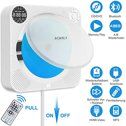 Tragbar CD Player - Wandmontierbarer DVD Player mit Bluetooth HiFi-Lautsprecher und Fernbedienung, Staubschutz, HDMI für die TV-Verbindung, USB-Player, LED-Display, Wiederaufladbar