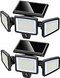 Luz Solar Exterior Jardin con Sensor de Movimiento, 210 LED Lámpara Foco Solar de Seguridad, Impermeable IP65, 270° Ajustable para Luz Solar de Pared Para Garaje Patio y Jardín, 2pcs