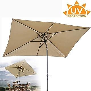 NMDD Sombrilla de Playa con manivela, Sombrilla Rectangular de 70 Grados; Impermeable Ajustable emergente en Segundos No oxidante Festival de Viaje (Color: Crema) LOLDF1