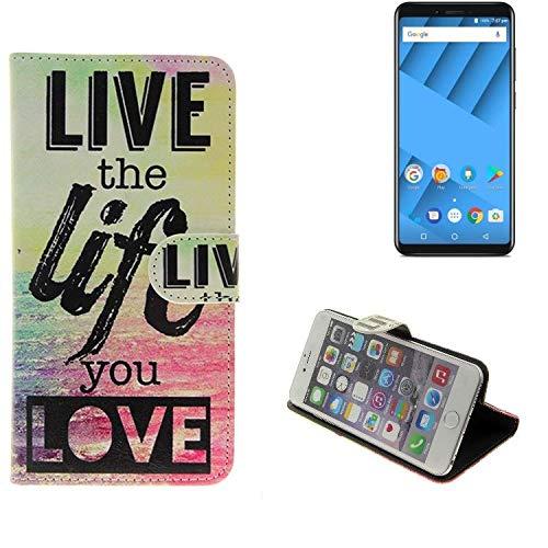 K-S-Trade® Schutzhülle Für Vernee M6 Schutz Hülle 360° Wallet Case ''live Life Love'' Schutzhülle Handy Tasche Handyhülle Etui Smartphone Flip Cover Standfunktion (1x)