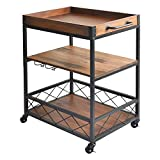 Solid Wood Kitchen Serving Carts Rolling Bar Cart with 3 Tier Storage Shelves Kitchen Island Cart with Wine Glass Holder,Handle Racks,Lockable Caster Liquor Cart Removable Top Box Container
