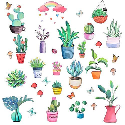 Pajaver Küche grüne Pflanze Fenster Aufkleber, Pflanzen Wandaufkleber, Kunst Aufkleber für Küche Schlafzimmer Home Esszimmer Glastüren Dekoration Mauer Dekoration Küche Dekoration