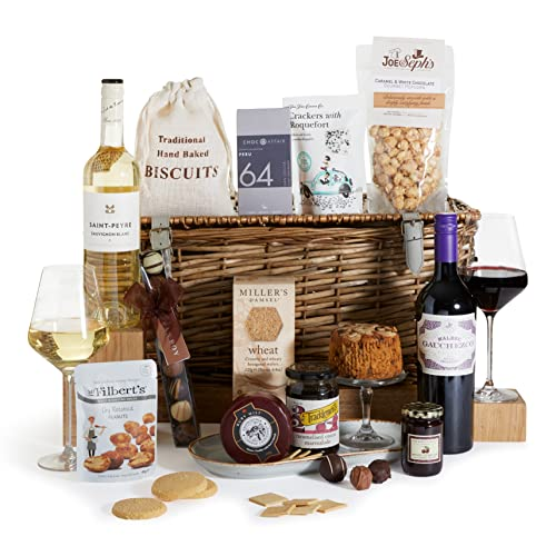 The Grand Food Hamper - Food Hampers - Food and Wine Gift - Presented in a Traditional Hamper Gift Basket - Free UK Delivery
